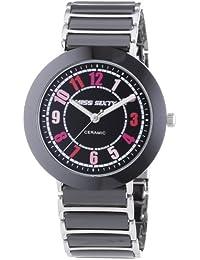 Miss Sixty SIR005 - Reloj analógico de cuarzo para mujer con correa de cerámica, color negro