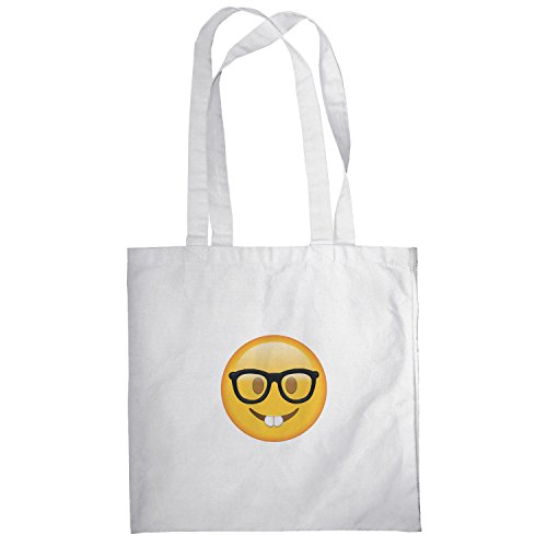 Texlab–Nerd Emoji–sacchetto di stoffa Bianco