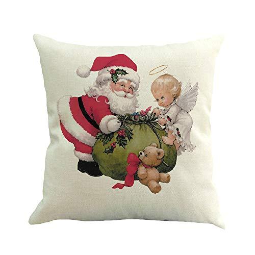 Caso di cuscino, feixiang federa cuscino stampa natale pupazzo di neve federe 45x45 cm in lino cuscini per divani cuscino di natale decorazioni per la casa copri cuscini
