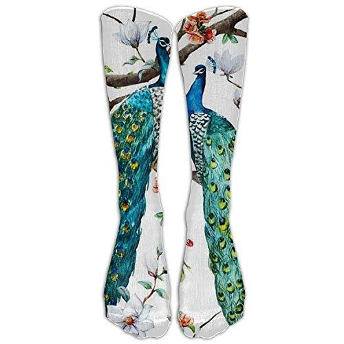 ncnhdnh Watercolor Beautiful Peacock Knee High Socks Casual Stockings Comfortable Novelty Sports Socks Size 6-10 (One Pair)