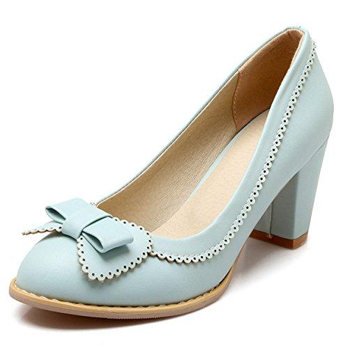 YE Damen Chunky High Heels Pumps mit Bequem Blockabsatz Elegant Schleife 7cm Absatz Office Party Schuhe Blau