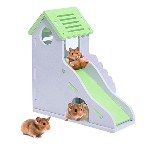 lennonsi Petit Animal Hamster Toboggan Jouet Nid Douillet Couleur Petite Maison Nid Jouet Double Couche Bungalow Villa Balcon Hamster Habitat Décor Cage Fournitures