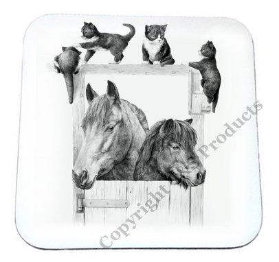 Mike Sibley Pferd, Pony, & Kätzchen Getränk Untersetzer (Blaue Dogge-tassen)