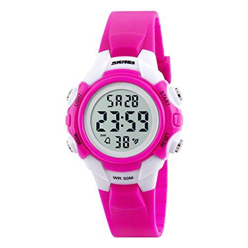 Beswlz-Kinder-Sport-LED-Hintergrundbeleuchtung-Digital-Mdchen-Uhren-Alarm-50-m-Wasserdicht-Armbanduhr-Kinder-Uhr-Rosa