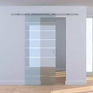 HOMCOM 2M / 6.6ft Modern Sliding Barn Door Hardware Track System Kit Aluminum-alloy w/ Glass Door Set