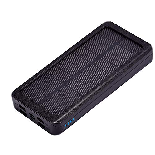 YGRSJ Solar Charger ger 20000mAh Portable Solar Power Bank Externer Backup-Akku Wasserdicht 4 USB-Anschlüsse Solar Power Bank,Red
