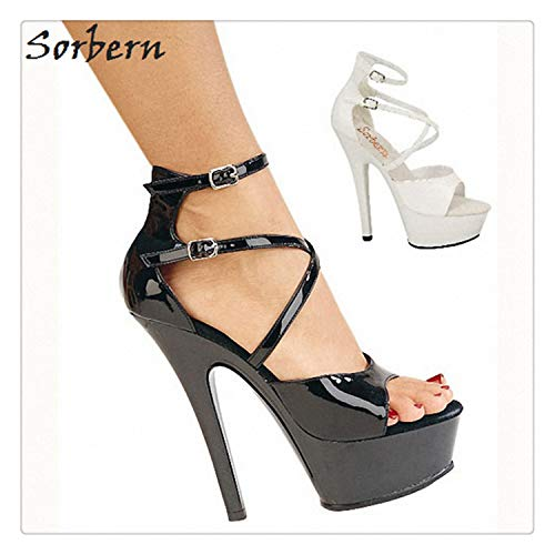 happy&live Custom Color Sandals Womens Platform Whit Spike Heel Shoes Strap Up Heels for Women Sandalias Summer Sexy Party Wear White 10 - Naturalizer Ankle Strap Sandalen