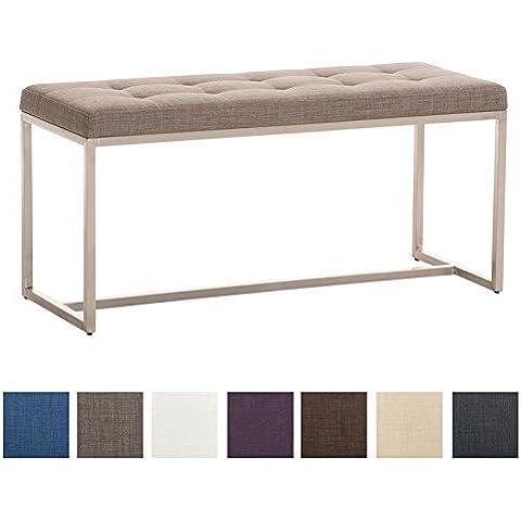 CLP Banco acolchado de tela BARCI con un soporte en acero inoxidable, objeto artístico auténtico, 100x40 cm, varios colores para elegir, altura 48 cm gris