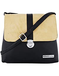 Fantosy Women Beige And Black Lock Slingbag Fnsb-180