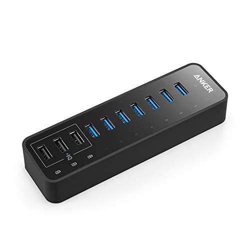 Anker 60W 10 Ports USB 3.0 Hub, 7-Port Datenhub für Apple MacBook, Windows Laptops und USB 3.0 Geräte, sowie mit 3 PowerIQ Ladeports für iPhone, iPad, Samsung, Motorola, HTC und weitere -