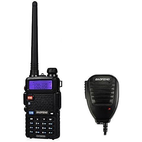 Baofeng UV-5RTP 136-174/400-520MHz Tri-Power 1/4/8W Jamón Radio de Dos Vías Walkie Talkie Two Way Radio, Negro (1 * Radio + 1 * Altavoz Remoto)