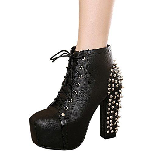 Oasap Femme PU Boots A Cheville Plate-forme Rivet Talons Hauts Black
