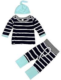 YanHoo Ropa para niños Los Pantalones de Camiseta de Rayas Infantiles Sombrero Traje de Tres Piezas