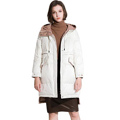 59a8206d023f MacMaxMode - Abrigo - Plumaje - Manga Larga - para Mujer Blanco Blanco M