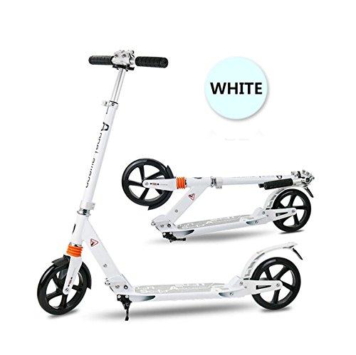 Innotic - Patinete para niños y adultos, ruedas grandes de 200 mm, suspensión de muelles delanteros y traseros, guardabarros, marco plegable, correa de transporte, altura ajustable, aluminio, blanco