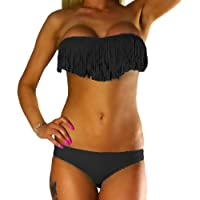 ALZORA Bikini Damen Tassel Fransen Fringe Push Up Set Top und Hose , 10411
