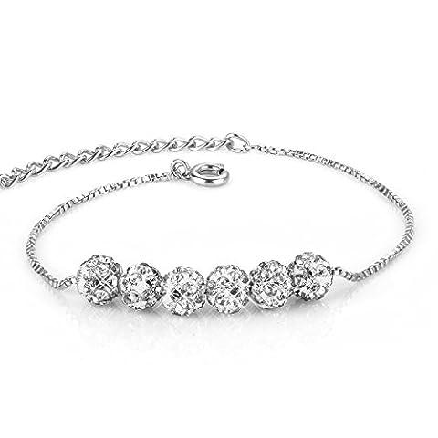 """Menton ezil """"Blow"""" Perle Armband Armreifen für Damen Hergestellt mit Swarovski-Kristallen, versilbert Hand Made Schmuck für Frauen und Mädchen"""