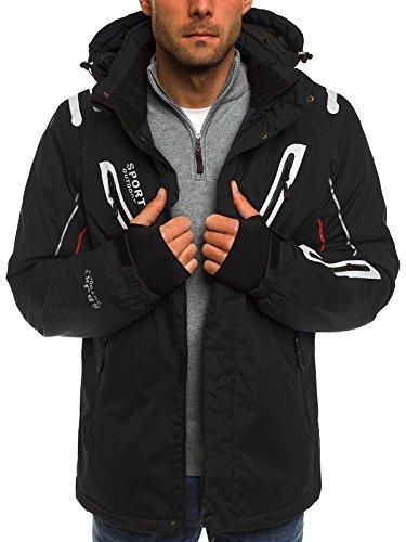 OZONEE Herren Winterjacke Skijacke Parka Windjacke Jacke Kapuzenjacke Wärmejacke Wintermantel Coat RED FIREBALL F802 SCHWARZ 2XL