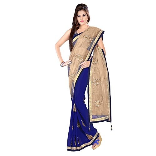 Janasya Half-Half Border Saree In Blue Color  available at amazon for Rs.839