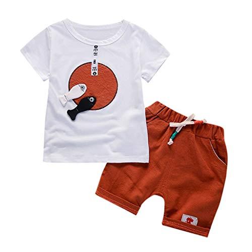 UFODB Baby Jungen Set Sommer, 2 Stücke Junge Mädchen Bekleidungsset Kleidung Cartoon Print T-Shirt Tops Infant Outfits Kinder Shorts Hosen