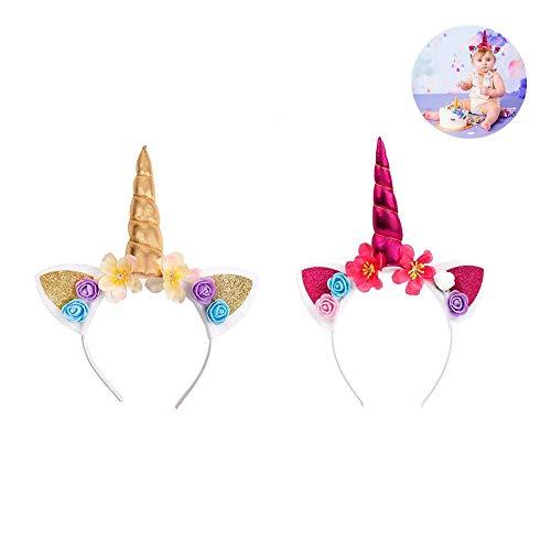 (ICYANG 2 Stücke Einhorn Stirnband Horn Blumen Haarband Kinder Baby Glitter Kopfschmuck Party Karneval Kostüme Requisiten DIY Haar Zubehör Halloween Geschenk)