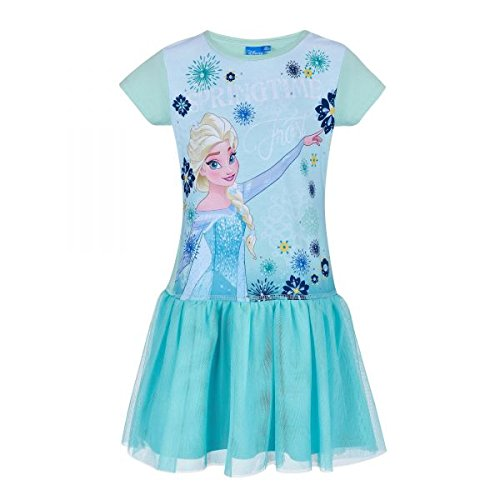 in Elsa & Anna Mädchen Kleid - blau - 128 (Elsa Frozen Kleid Für Mädchen)