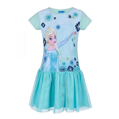 Disney Die Eiskönigin Elsa & Anna Mädchen Kleid - blau - 128 (Disney Elsa Kleider)