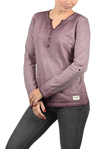 Turn-up Sweatshirt (DESIRES Karina Damen Longsleeve Langarmshirt mit Rundhals-Ausschnitt und Knopfleiste aus hochwertiger 100% Baumwolle, Größe:S, Farbe:Wine Red (0985))