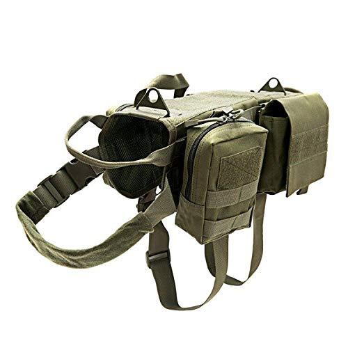 TopTie Tactical Molle arnés de Entrenamiento para Perro, Chaleco de Servicio Ajustable con 3 Bolsillos Desmontables/Parches para Perros medianos y Grandes