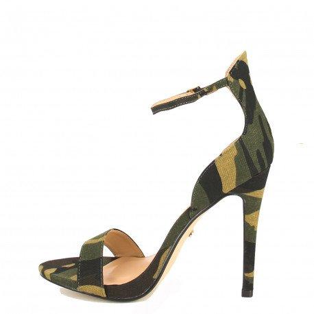 Ideal Shoes - Sandales à talons ouvertes et effet daim Sara militaire