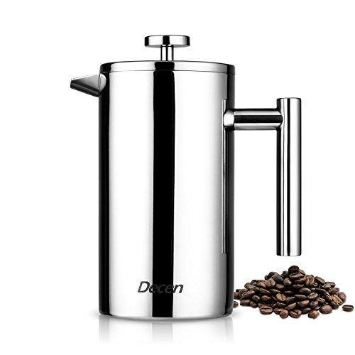 Decen Cafetera de Acero Inoxidable de Doble Pared, Cafetera de Té, Tetera,Filtro de 3 Cpas - 1Litro /