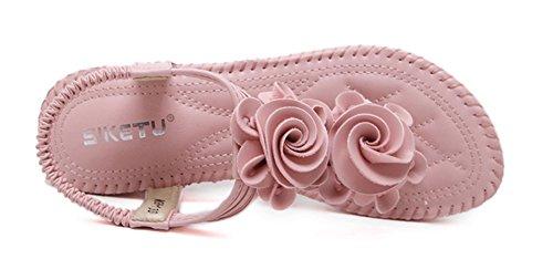 Aisun Damen Bohemian Blumen Kunstleder T Spange Keilabsatz Sandalen Zehentrenner Pink