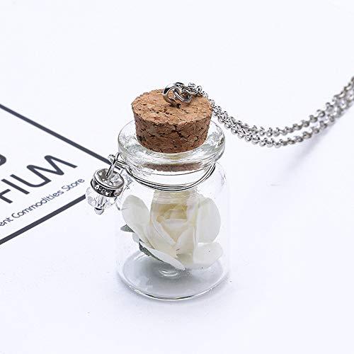 Gaddrt glow in the dark glass glass tiny wishing bottle fiala collana pendente a catena-regali meravigliosi-lunghezza catena: 60 + 5cm (white)