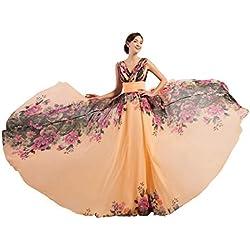 Vestido Elegante con Estampado Floral para Verano Color Rosa Talla 36 CL7502-1