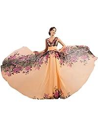 GRACE KARIN Vestido Largo Elegante de Mujer Estampado Floral Vestido de Noche
