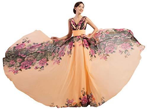 0110de05a5 GRACE KARIN Vestido de Fiesta Cóctel para Mujer Cuello V Vestido de Gasa  Talla 44 CL7502