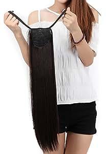 "FLORATA 22""(56CM) One Piece dark brown Wrap around Binding Tie up Ponytail Clip Straight in Hair Extensions for ladies"