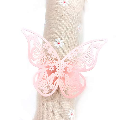 JZK® 50 x Schmetterling Papier Serviettenring für Hochzeit, Taufe, Kommunion, Graduierung, Geburtstag, Weihnachten, bankett oder Verschiedene Anlässe (Rosa)