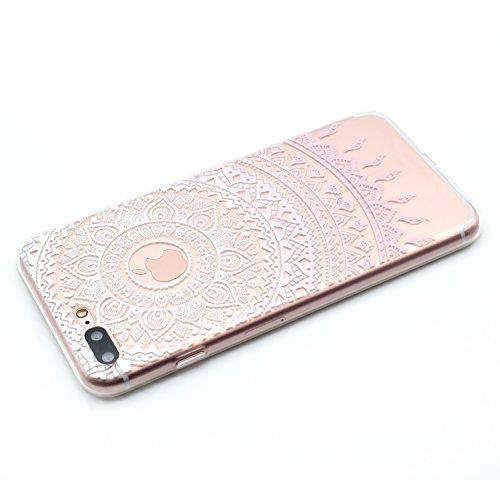 iPhone 7 Plus Silicone Case,iPhone 7 Plus Coque - Felfy Coque Souple Transparente TPU Silicone en Gel Case Premium Ultra-Light Ultra-Mince Skin de Protection Pare-Chocs Anti-Choc Bumper pour Apple iPh Motif Rose Coque