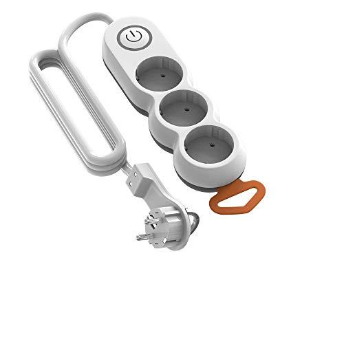 Oferta de Garza - Regleta de 3 enchufes con Interruptor y protección Infantil, Enchufe Plano, Cable de 1,4 Metros