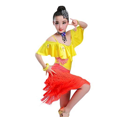 Kid Professional Quaste Latin Dance Dress, Rumba Salsa Leistung Tanzkleid Strap Stitching Wettbewerb Kostüm (Color : Yellow, Size : XL)