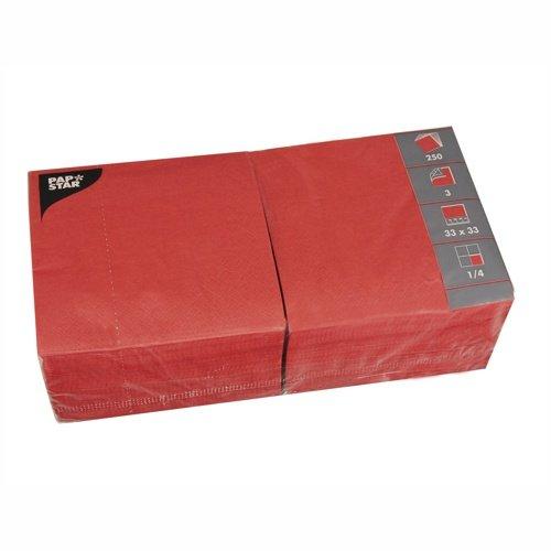 Papstar Servietten / Tissueservietten rot (250 Stück) 3-lagig, 1/4-Falz, 33 x 33 cm, für Gastronomie, Haushalt und Feste, aus FSC-zertifiziertem Tissue, #12483