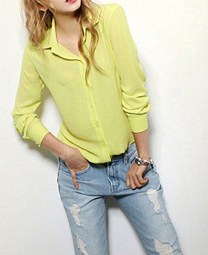 Neue Reizvolle Art Und Weisefrauen Loesen Chiffon Ober Langarm Shirt Beilaeufige Bluse Gelb