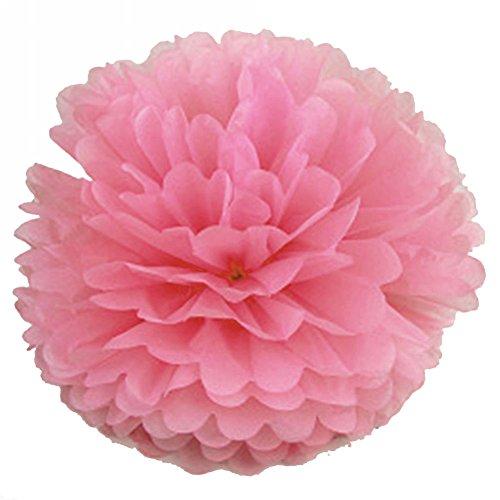 Seidenpapier Pom Poms Blumen für Valentinstag Hochzeit Geburtstag Party Dekoration Rosa 100
