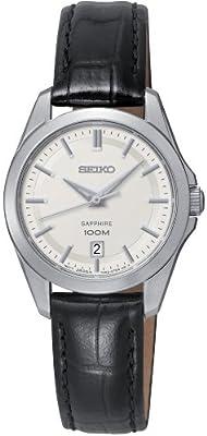 Seiko Damenuhren - Reloj de cuarzo para mujer, con correa de cuero, color negro