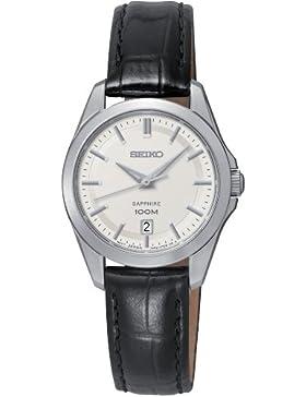 Seiko Damen-Armbanduhr XS Analog Quarz Leder SXDF55P2