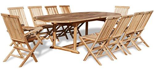 KMH, Teak Gartensitzgruppe mit ausziehbarem Gartentisch für 10 Personen (#102213)