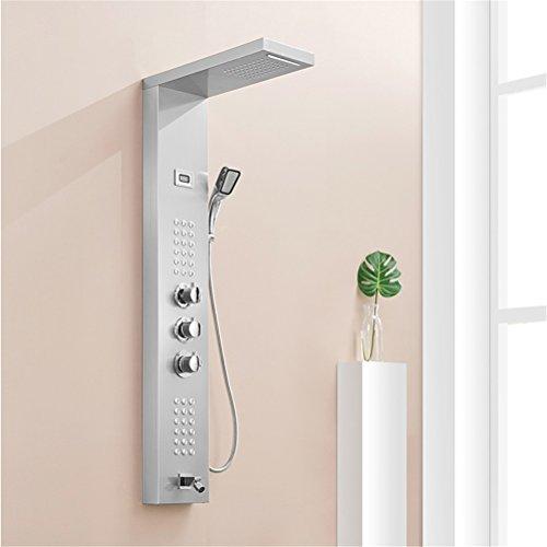Acier inoxydable thermostatique salle de bains pluie cascade douche panneau mural système de massage colonne de douche avec robinet de douche