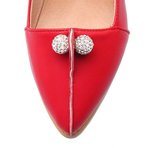 Allhqfashion Spitz Pu Pumps Leder Damen Niedriger Zehe Absatz Ziehen Schuhe Rot Eingelegt Auf rHrRwq