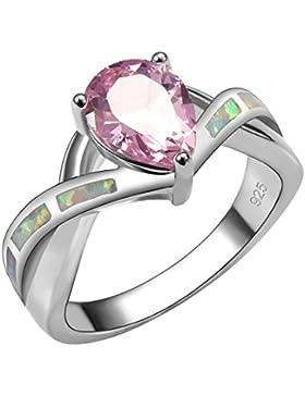 weinuo Pink Topas weiß Fire Opal Silber Gold gefüllt Ring Gr. M bis T1/2